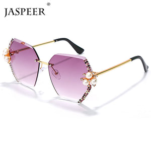 US Warehouse: Women's Vintage Rimless Rhinestone Hexagon Sunglasses