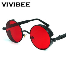 Load image into Gallery viewer, Vintage Gothic Round Steampunk Red Sunglasses. Alloy Metal Frames.