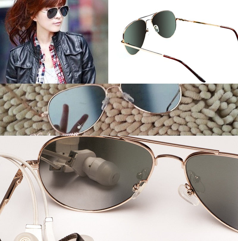 Anti-Tracking Rearview Mirror Aviator Sunglasses