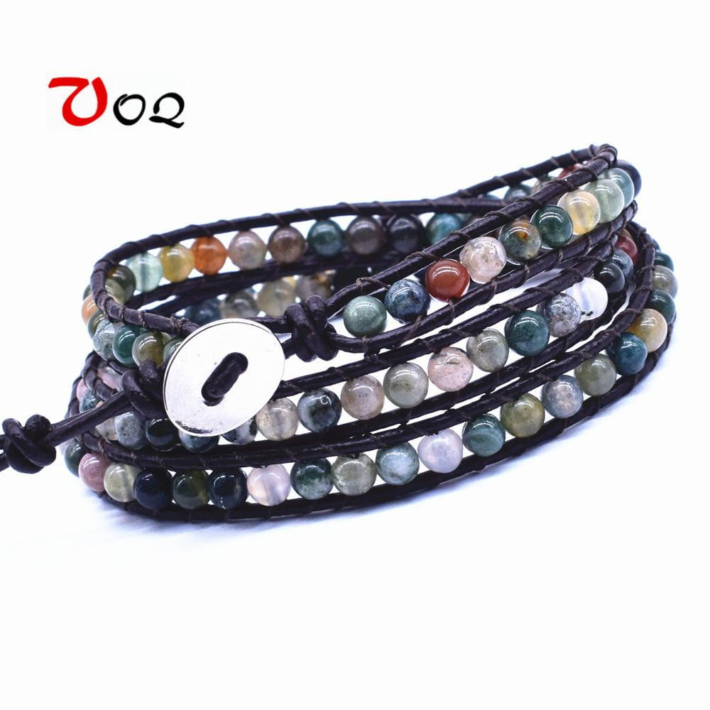 Multi Color Natural Imperial Jasper for Luck and Harmony,Handmade and Adjustable Wrap Bracelet KSQS Leather Chakra Tube Beads Wrap Bracelet