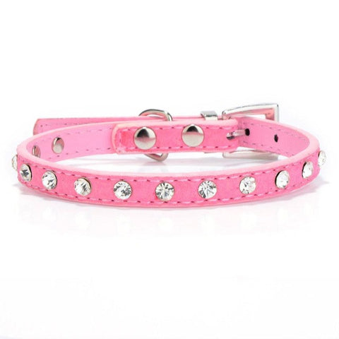 Cute Rhinestone Adjustable Leather Cat Collar