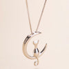 Image of Cat Moon Pendant Necklace Silver/Gold Charm