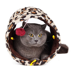 Cat Tunnel Leopard Print Crinkly Cat Fun 2 Holes Long Tunnel Kitten Toys