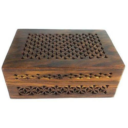 Handmade Lattice Cutwork Wood Box Handmade and Fair Trade