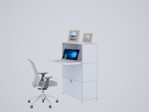 Compact Home Office Workstation, All-in-one with Cabinets and Desk, W75H118DR1FD2