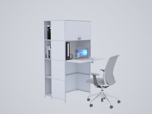 Compact Home Office Workstation, All-in-one with Cabinets and Desk, W75H155FD1FU1