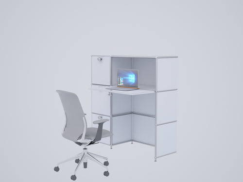 Compact Home Office Workstation, All-in-one with Cabinets and Desk, W112H118DR2FD2