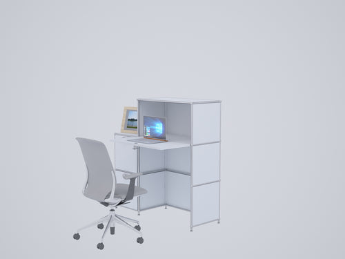 Compact Home Office Workstation, All-in-one with Cabinets and Desk, W112H118DR1FD2