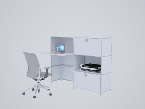 Home Office Workstation, All-in-one with Cabinets and Desk