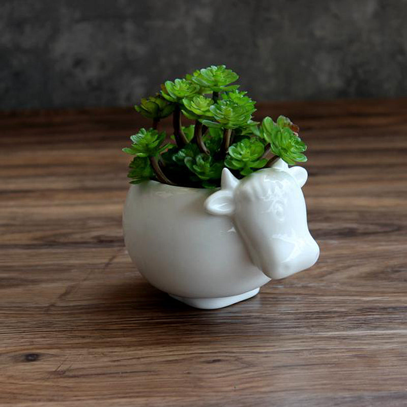 Cute Cow White Ceramic Planter