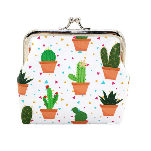 Succulent Patterned Clasp Top Coin Purse