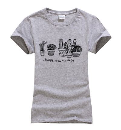 Short Sleeve Black and White Succulent T-Shirts