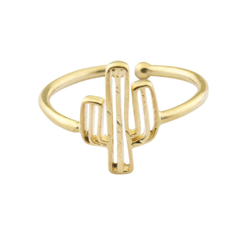 Gold Cactus Adjustable Ring For Women