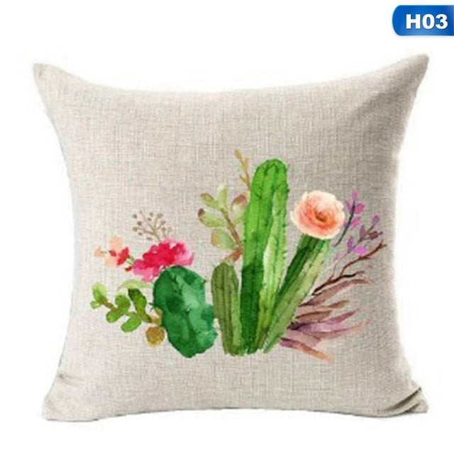 Succulents Cactus Cushion Cover