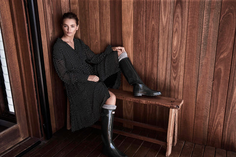 autumn winter 2018 georgette button up dress black spots spotty temple farmhouse byron bay frankie and dash