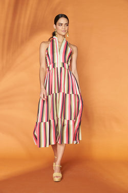 Botanical Stripe High Neck Cocktail Dress