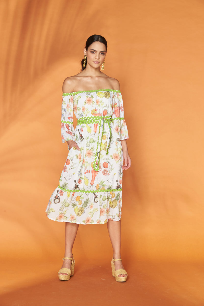 Happy Hour Off The Shoulder Midi Dress
