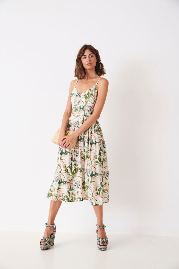 Painted Palms Pleated Singlet Dress