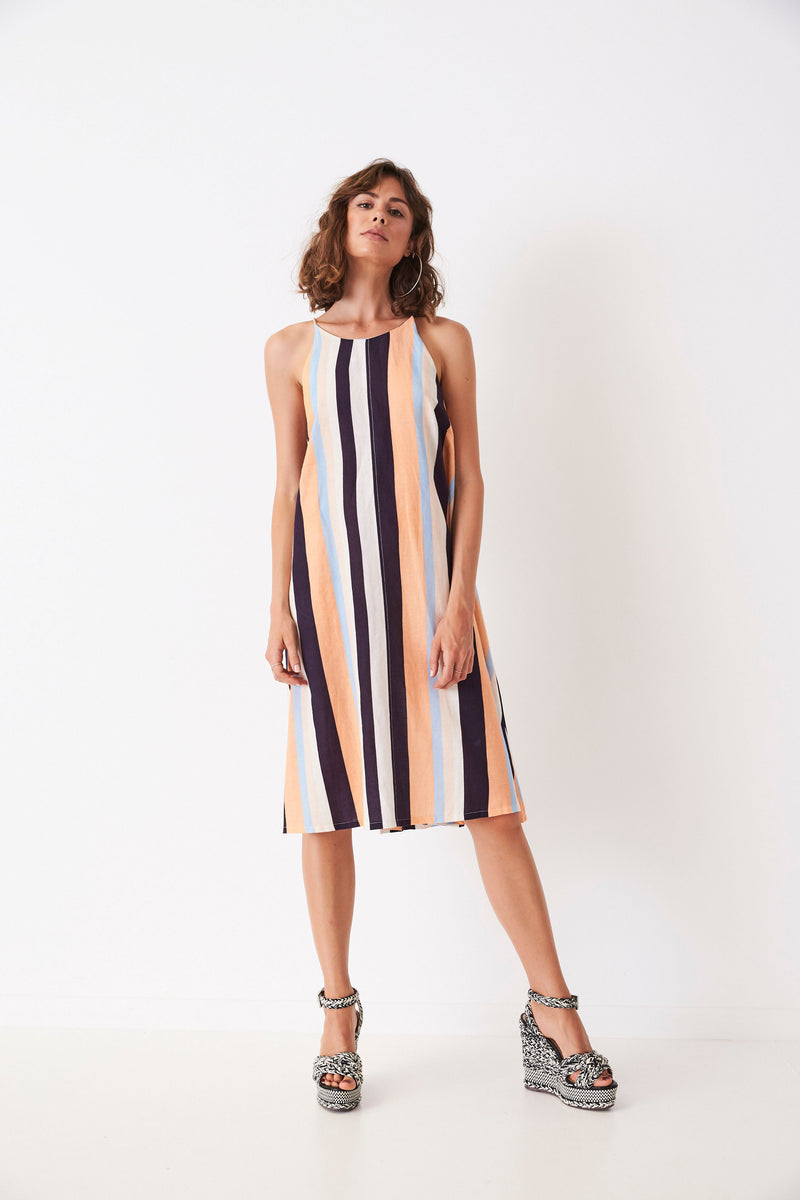 Retro Stripes A-Line Singlet Dress