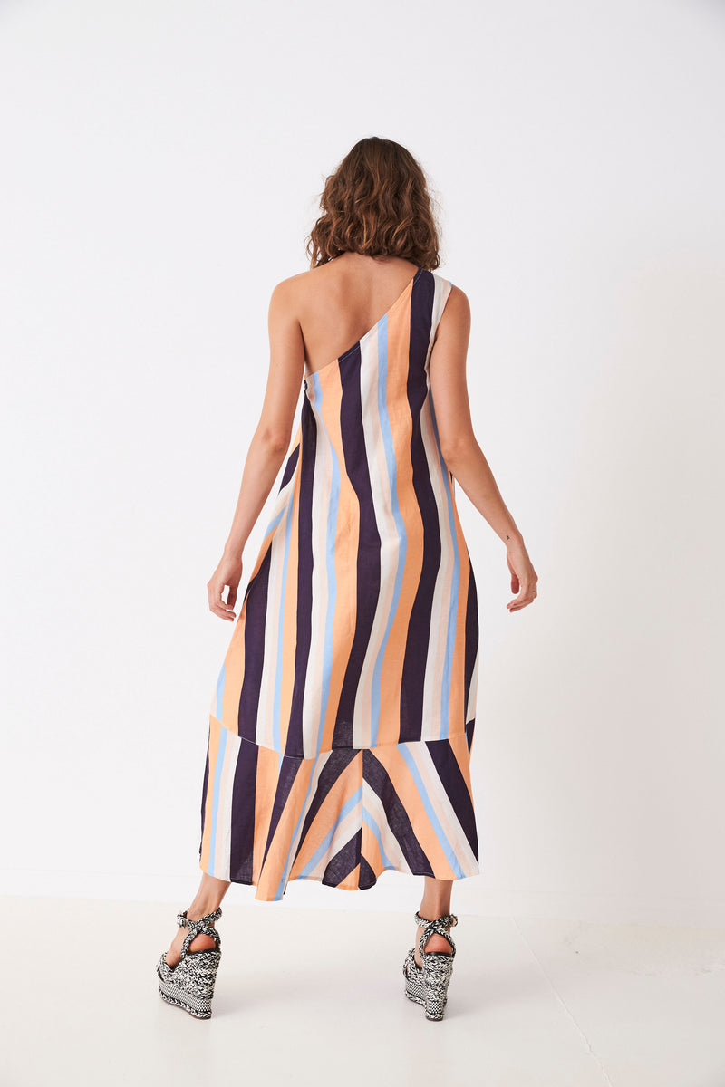 Retro Stripes One Shouldered Cave Dress