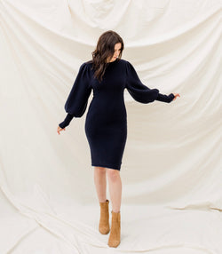 Navy Balloon Sleeve Knit Dress