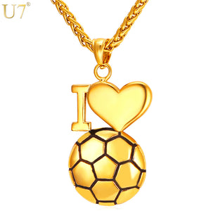 Gold/Silver I Love Soccer Necklace/Pendant
