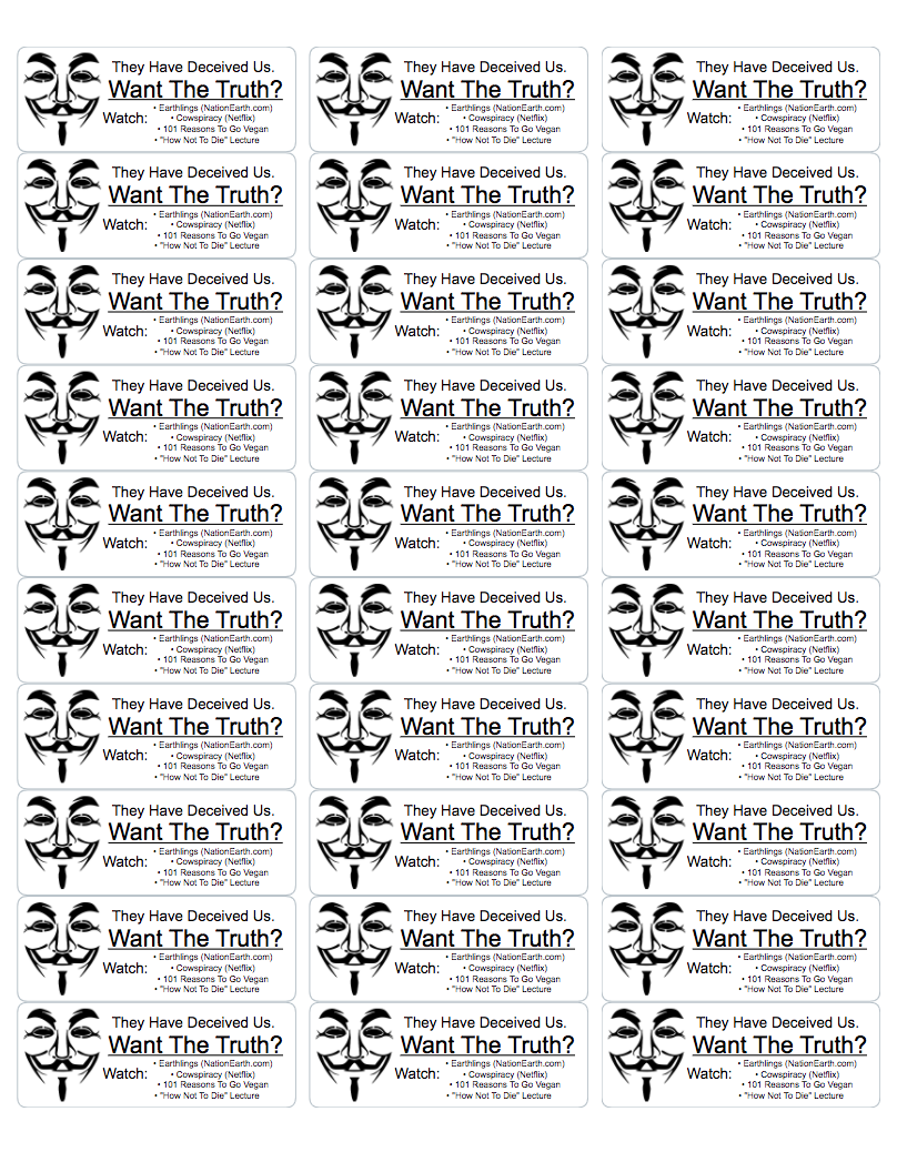 Want The Truth? Vegan Activism Stickers