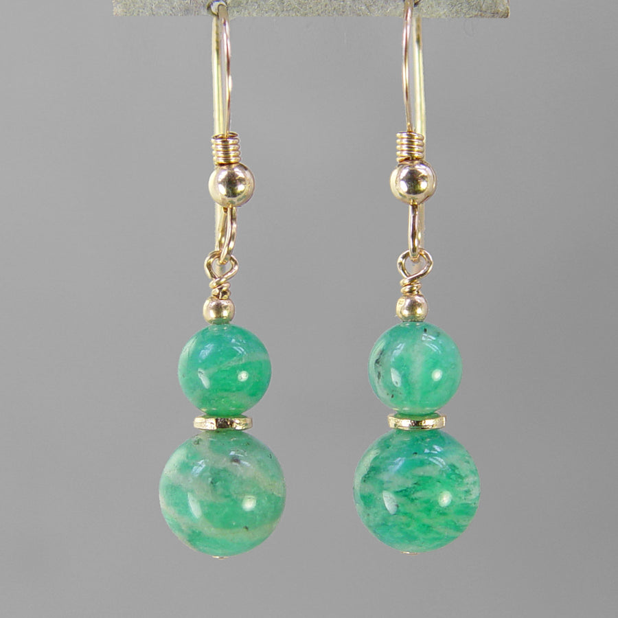 Hand crafted amazonite earrings from Northern Lights Gemstones. Amazonite is a natural stone that looks similar to turquoise.