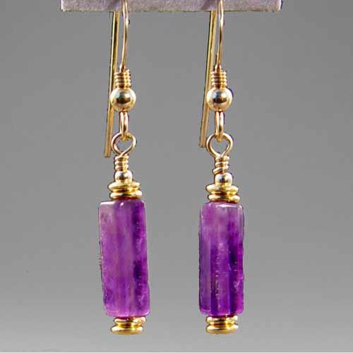 Amethyst Rectangle Earrings
