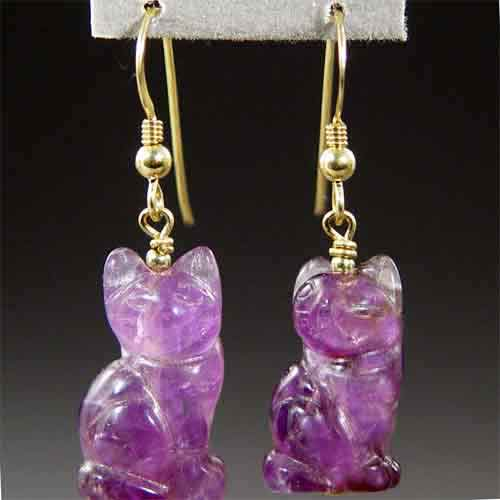 Amethyst Cat Earrings