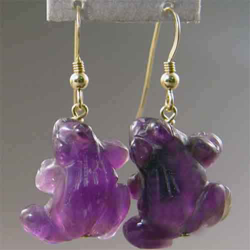 Amethyst Frog Earrings