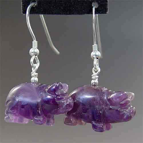 Amethyst Pig Earrings