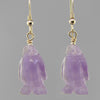 Amethyst Penguin Earrings