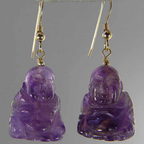 Amethyst Buddha Earrings