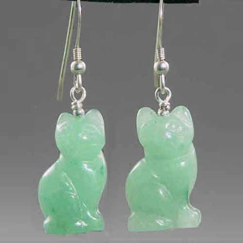 Aventurine Cat Earrings