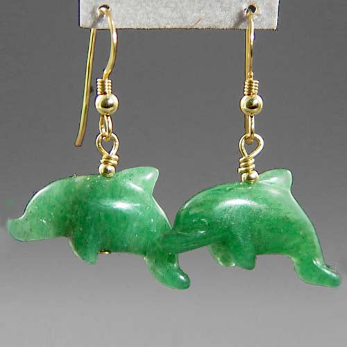 Aventurine Dolphin Earrings