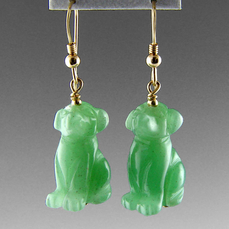 Aventurine Dog Earrings