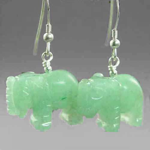 Aventurine Elephant Earrings