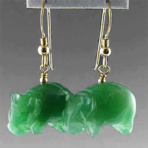 Aventurine Hippo Earrings