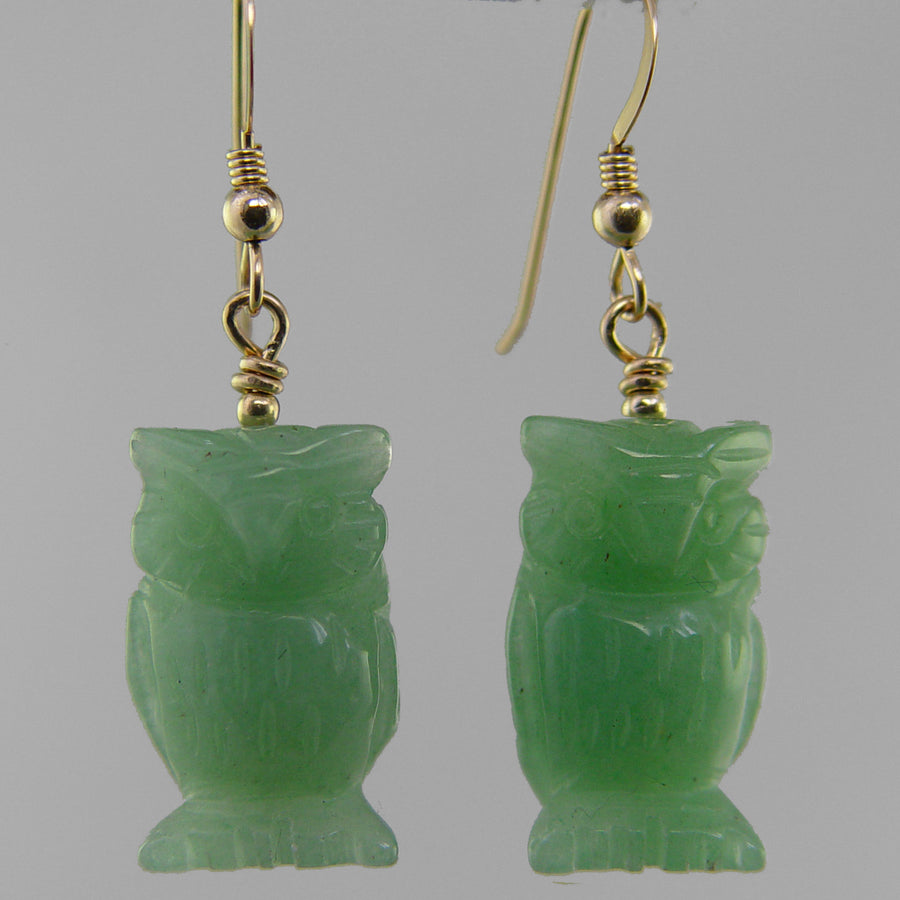 Aventurine Owl Earrings