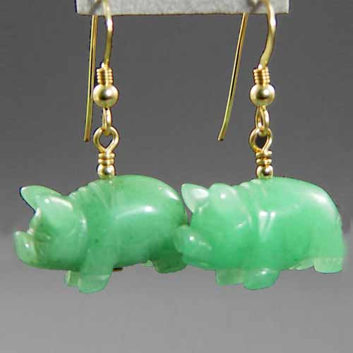 Aventurine Pig Earrings