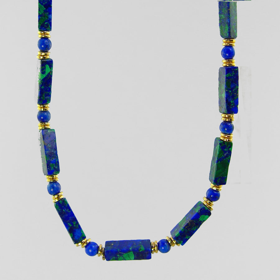 Azurite Malachite Rectangle Necklace