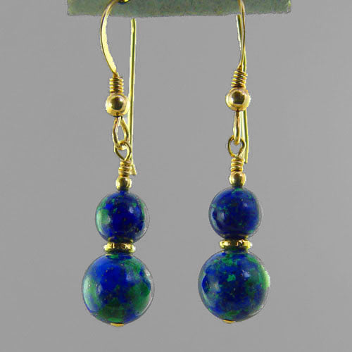 Azurite Malachite Classic Drop Earrings