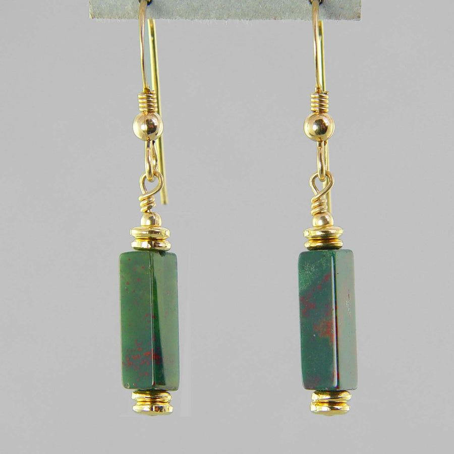 Bloodstone Rectangle Earrings