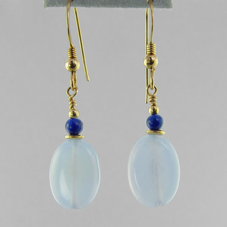 Blue Chalcedony Oval Earrings