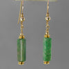 Green Jasper Rectangle Earrings