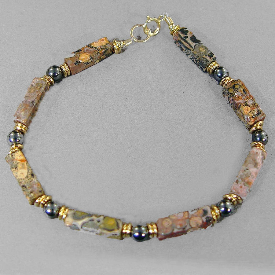Leopardskin Jasper Rectangle Bracelet