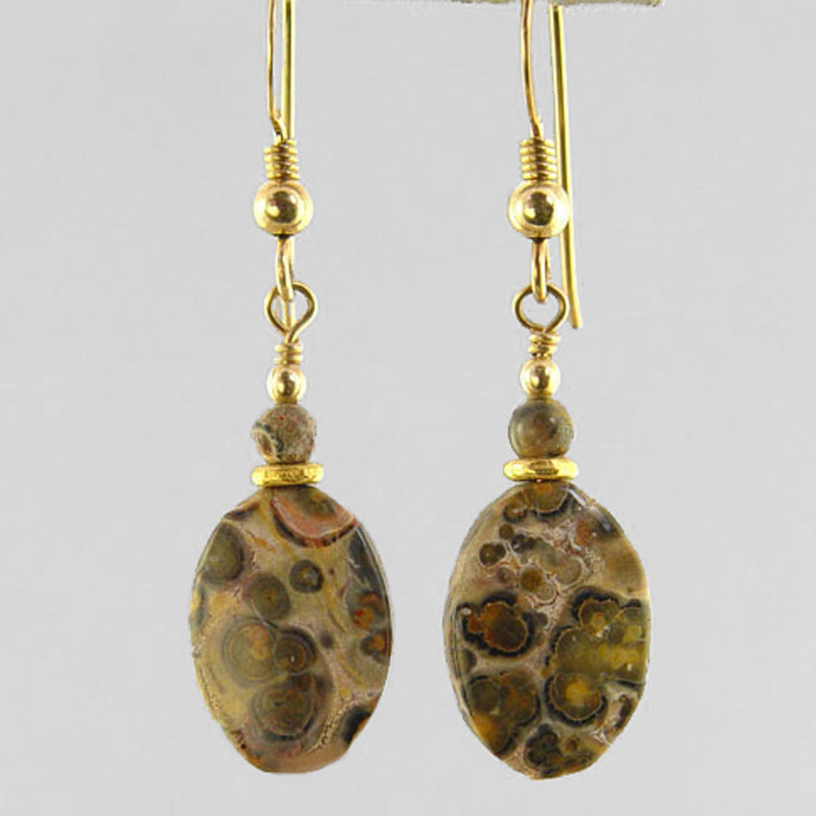 Leopardskin Jasper Oval Earrings