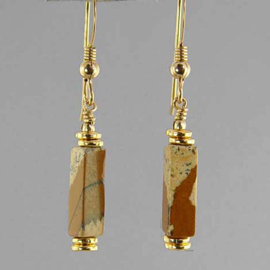 Picture Jasper Rectangle Earrings