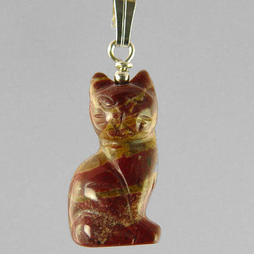 Poppy Jasper Cat Pendant